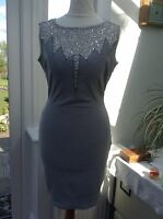 Goddess Grey Sequin Bust/Back Detail Bodycon Dress Sizes 8, 10, 12