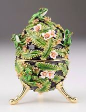 Faberge Music Egg with Frog by Keren Kopal trinket box Austrian crystals