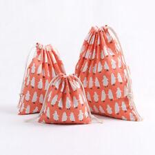 Cotton Linen Drawstring Multi-purpose Pouch Party Gift Bag Penguin Orange 8220S
