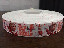 "1m Elf On The Shelf Christmas Character Printed Grosgrain Ribbon, 22mm 7/8"""