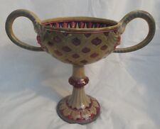 "ANTIQUE MAIOLICA ITALY PAOLO RUBBOLI SIGNED TWO-HAND URN VASE  (11.5"")"
