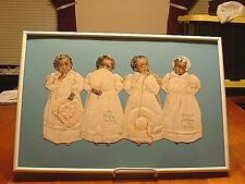 RARE Antique Black Americana Quadruplets Cut Out Doll Birthday Card Framed