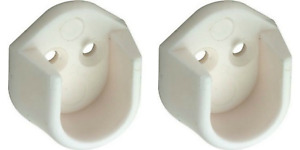 2 x White Rail End Supports Brackets for Oval Wardrobe Rails Poles (2 = 1 Pair)