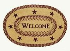 """New Primitive Country Colonial BURGUNDY TAN BRAIDED JUTE RUG Area Throw 20""""x 30"""""""
