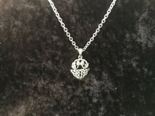 Handcast 925 Sterling Silver Scottish Thistle Pendant Necklace Free Chain