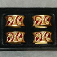 Tableware Napkin Ring Enameled BOMBAY Burnished Gold Tone Lot of 4 USA SELLER