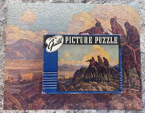 VINTAGE WHITMAN GUILD 375+ PC PICTURE Puzzle MOVING WESTWARD Indians Cowboys EUC