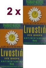 2 x Livostin Antihistamine Eye Drops 4ml / ALLERGY RELIEF WITHIN MINUTES