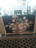 """Vtg Wall Hanging Tapestry French Floral Basket Quality Made 52"""" X 37"""" Art decor"""