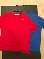 NIKE Dri Fit Mens Blue and Red Short Sleeve Shirts Size XL and XXL