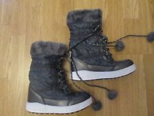 girls boots faux fur winter snow boots BNWT - George size 1 grey pom poms new