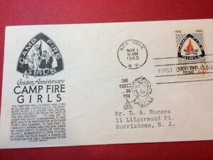 #1167 FDC 1960 Anderson cachet 4c L90 Camp Fire Girls- Black