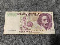 Italia Repubblica 50.000 Lire Bernini Ottima Decr 17/5/92