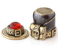 """Tourist Travel Kit Brass Thimble 2 in 1 Baltic Amber Backpack Hat Flask 1 3/16"""""""