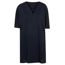 French Connection Women's Blue Frith V-neck Sheen Jersey Wrap Dress