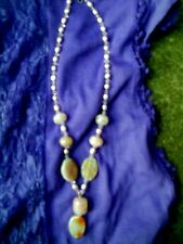 PINK SNAKESKIN AGATE & PEARL NECKLACE - 925 SILVER FITTINGS