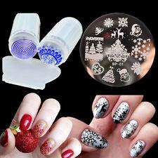 Fashion Nail Art Stamping Plate Polish Stamp Kit Silicone Stamper & Scraper