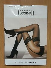 BNWT - WOLFORD  AFFAIRE 10 BLACK LACE TOP STOCKINGS - SIZE S
