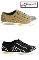 New Womens Ladies Studded Flat Trainers Running Sports Sneakers Lace Up UK 3-8