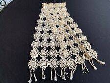 Vintage Off White Hand Tatted/Tatting Table Runner with Fringe