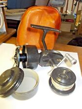 """~VINTAGE """"MITCHELL""""~HALF BAIL SPINNING REEL~xtra spool and case & leather pouch~"""