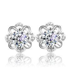 Flower Women 925 Sterling Silver Jewelry Elegant Crystal Lady Ear Stud Earrings