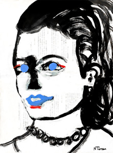 Grace Kelly Original Painting on Antique French Paper Modern Art Neal Turner NR