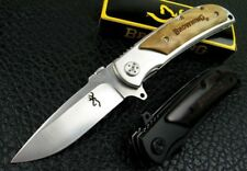"BROWNING 8.2"" Tactical Folding Pocket Knife silver deluxe 440A Steel 57Hr"