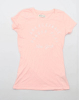 Abercrombie & Fitch Womens Size S Graphic Cotton Blend Pink Top (Regular)