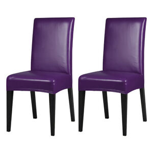 1/4/6Pcs PU Leather Stretch Dining Room Chair Cover Wedding Banquet Seat Covers