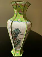 Chinese Hand-painted Cloisonne Copper Enamel Hexagonal Vase