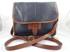 Leather Co. by Liz Claiborne Navy & Brown Leather Purse Handbag Pocketbook Strap