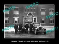 OLD 8x6 HISTORIC PHOTO OF LONGMONT COLORADO POLICE STATION & OFFICERS c1920