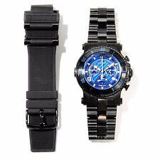 Renato Men's Beast Diver Blue Dial Swiss Chronograph Black IP Bracelet Watch