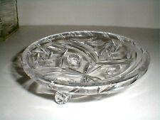 Bohemian Cut Glass Kusak Crystal PINWHEEL & STAR 3 Toed Footed Candy Dish Bowl