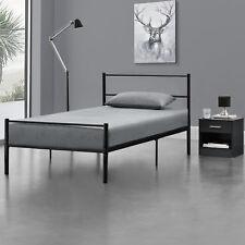 Lit en Métal 90x200 Noir Châlit Lit Design Chambre à Coucher Métal