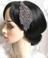 Gunmetal Pewter Dark Grey Beaded Headpiece Headband 1920s Flapper Gatsby 6926