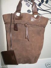 GUCCI Italy Brown Suede Leather Large Drawtop Bucket Bag w/ Purse NEW! $1300+