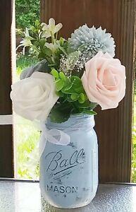 Shabby Chic Rustic Mason Blue Jar Rose Floral Arrangement