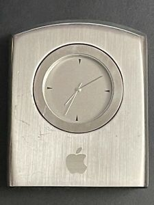 VINTAGE & RARE Apple employees edition stainless steel Travel Desk Clock 2004