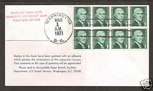 US Sc 1278a FDC. 1971 1c Jefferson, Booklet Pane of 8 with Experimental Gum