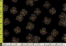 Shamrock Gold Treasure Etched 4 Leaf Clover 100% Cotton Fabric 1/4 yard 22.5 cm