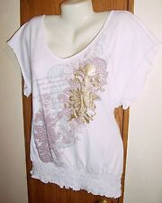 S top T shirt white graphic gold foil V neck womens top stretch banded S dressy