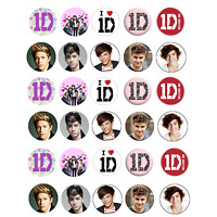 1D One Direction Edible Cupcake Fairy Cake Birthday Cake Wafer Paper Toppers x30