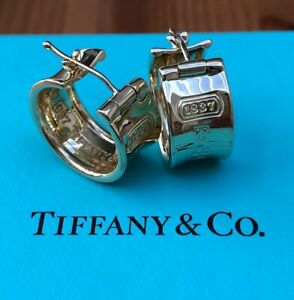Tiffany & Co. Vintage 1837 Solid 18ct Yellow Gold Wide 9mm Hoop Earrings 14gms