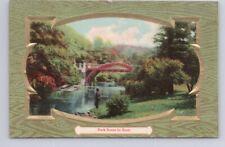 Park Scene By Bush, Antique 1911 Embossed Postcard