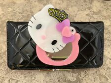 New Hello Kitty Black Leather Mirrored Wallet