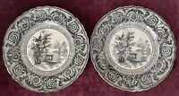 Antique Rare Pair 7-inch Transferware Plates (Early 1800's) by Enoch Wood & Sons