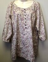 New St Johns Bay Womens Sz L Mauve Pink Floral Print 3/4 Sleeve Shirt Blouse Top