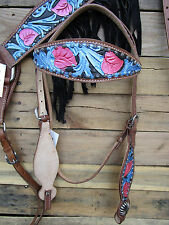 HEADSTALL BREAST COLLAR TURQUOISE BLUE PINK BLACK FRINGE HORSE LEATHER WESTERN